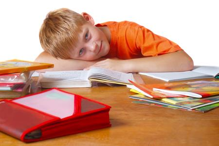 boy with a book and desk